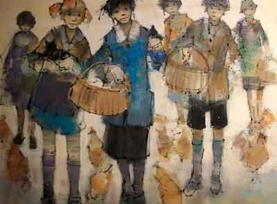 Enfants aux poules Lucien Delmas